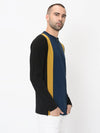 Rigo Black Mustard Blue Vertical Cut & Sew Henley With Zip Detail Full Sleeve Tshirt For Men