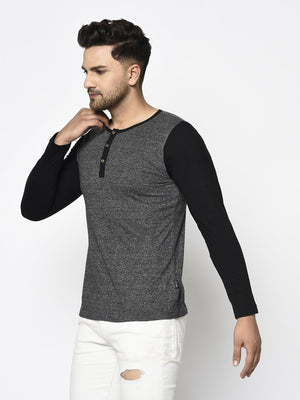 Rigo Men Charcoal Grindle With Black Full Sleeve Cotton Henley T-Shirt