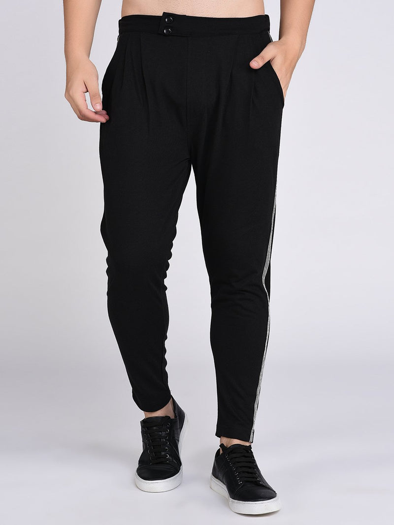 Rigo Black Stripe Tape Detail Trouser Style Jogger-Full