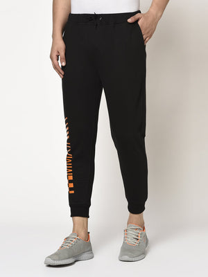 Rigo Men Black Terry With Placement Print On Bottom Jogger