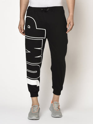 Rigo Men Black Terry With JUMP Placement Printed Jogger