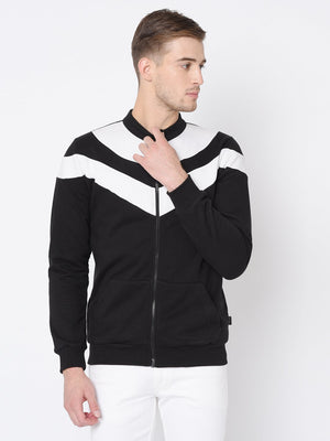 Rigo Black White Cut & Sew Open Front Jacket For Men