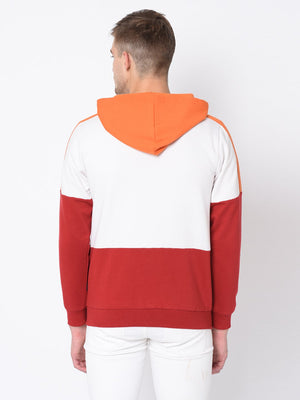Rigo White Orange Maroon Hooded Jacket For Men