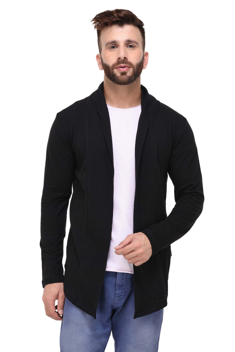 Rigo Black Open Long Cardigan Full Sleeve Shrug for Men