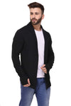 Rigo Black ThumbHole open Long Cardigan Full Sleeve Shrug for Men