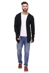 Rigo Black Hooded With Thumbhole open Long Cardigan Full Sleeve Shrug for Men