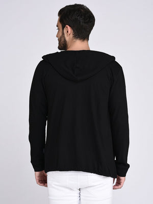 Rigo Black Hooded With Bottom Detailing Cardigan -Full
