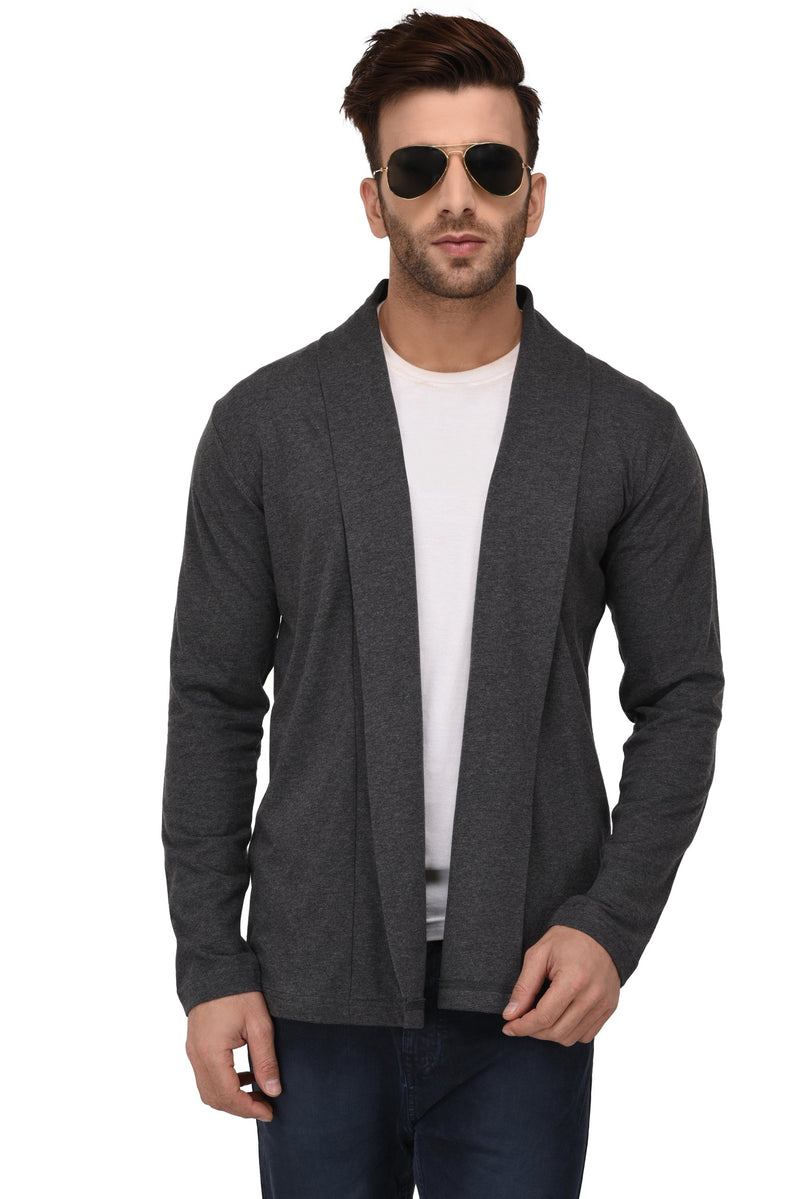 Rigo Charcoal Melange Open Cardigan Full Sleeve Shrug For Men