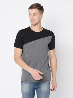 Rigo Black Charcoal Cut & Sew Half Tshirt For Men