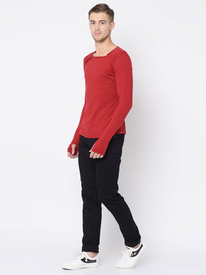 Rigo Maroon Square Neck Thumbhole Tshirt For Men