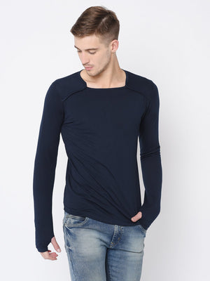Rigo Navy Square Neck Thumbhole Tshirt For Men