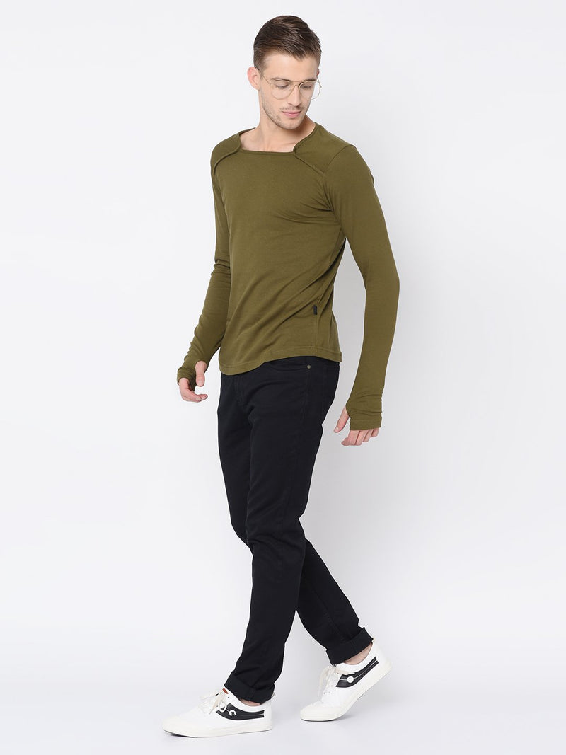 Rigo Olive Green Square Neck Thumbhole Tshirt For Men