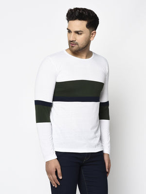 Rigo Men White Bottle Green Color Block Round Neck Cotton Full Sleeve T-Shirt