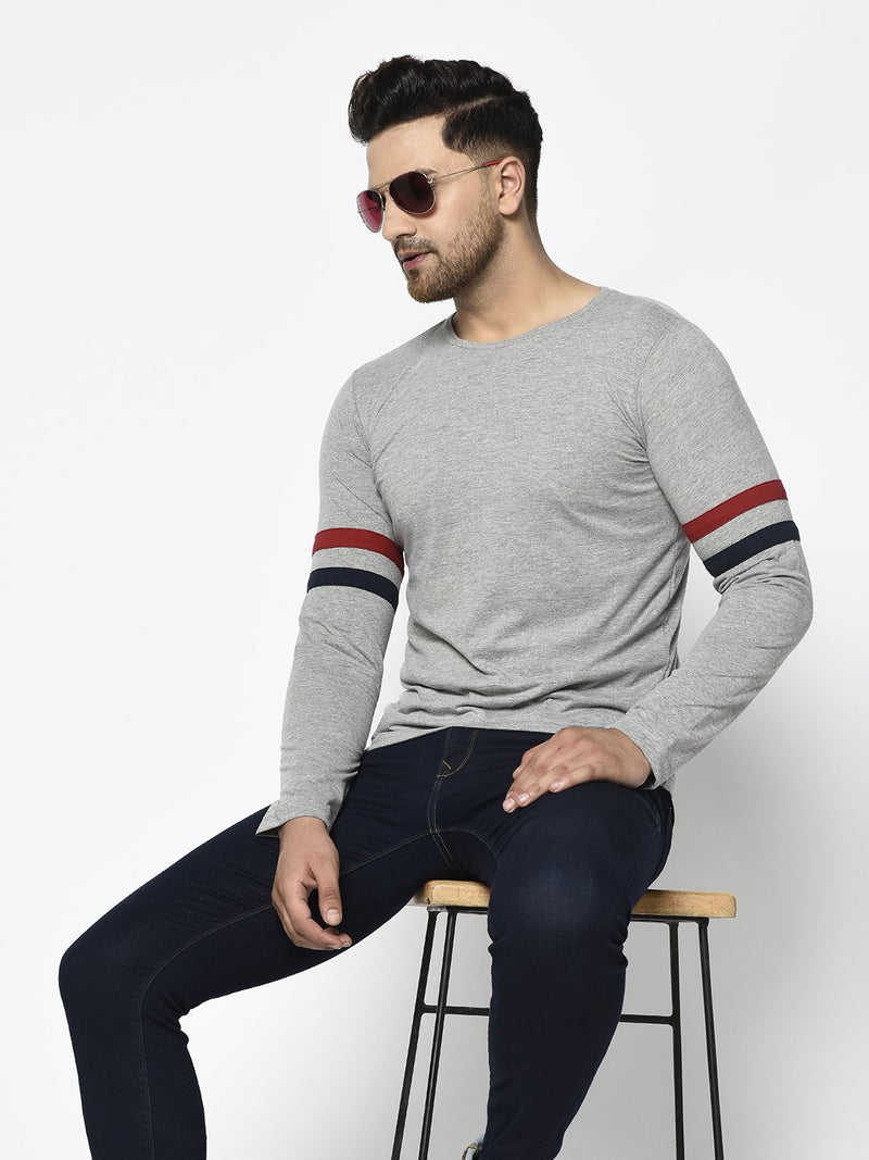 Rigo Men Grey With Contrast Detailing On Sleeve Round Neck Cotton Full Sleeve T-Shirt