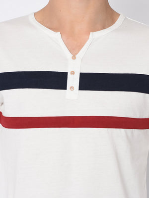 Rigo White With Contrast Trim Detail Henley Tshirt For Men