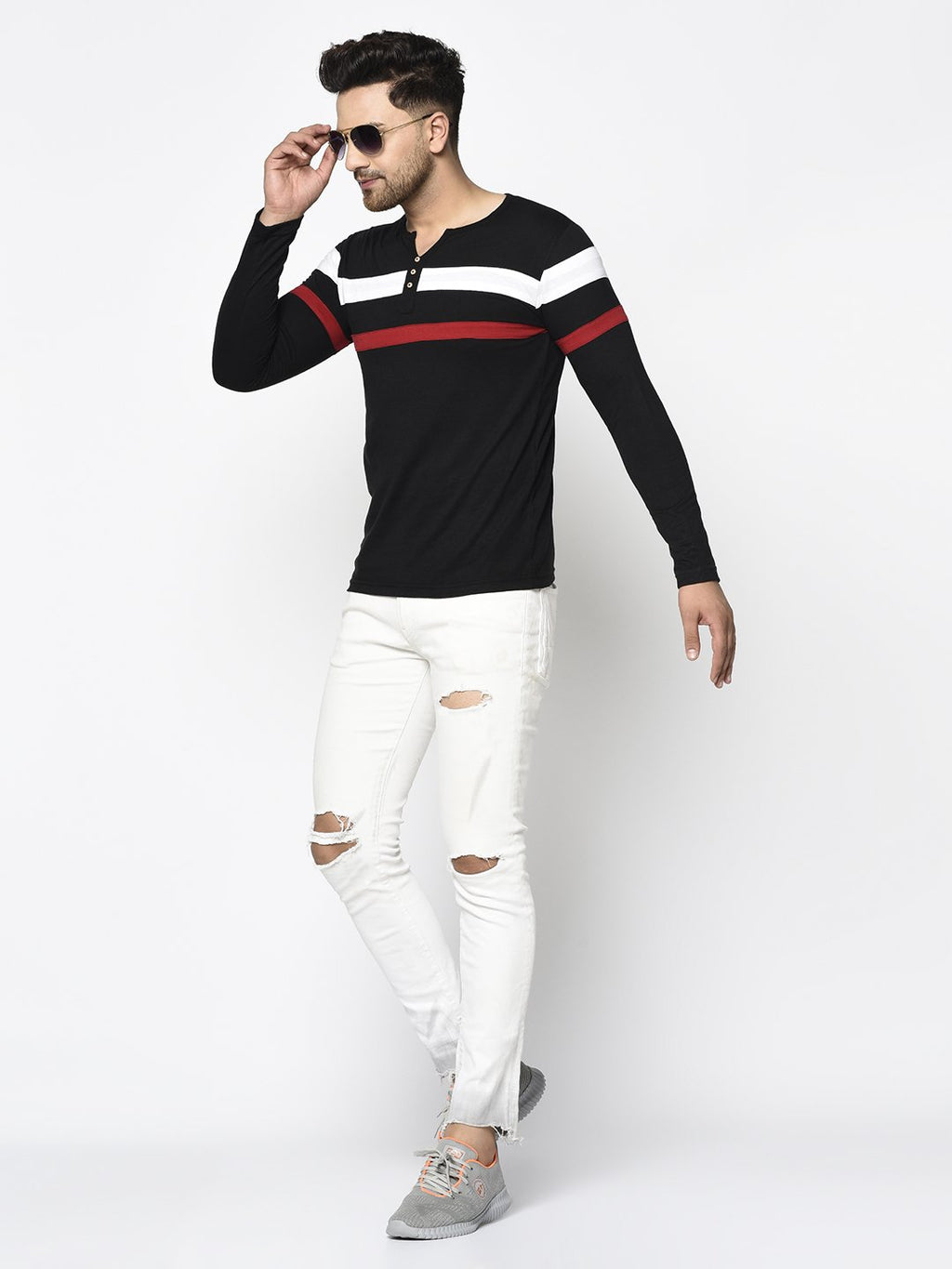 Rigo Men Black Contrast Detailing Patch Henley Neck Cotton Full Sleeve T-Shirt