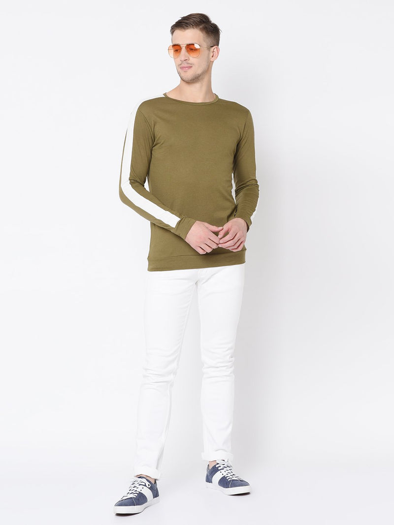 Rigo Olive Green Cut & Sew Full Sleeve T Shirt For Men