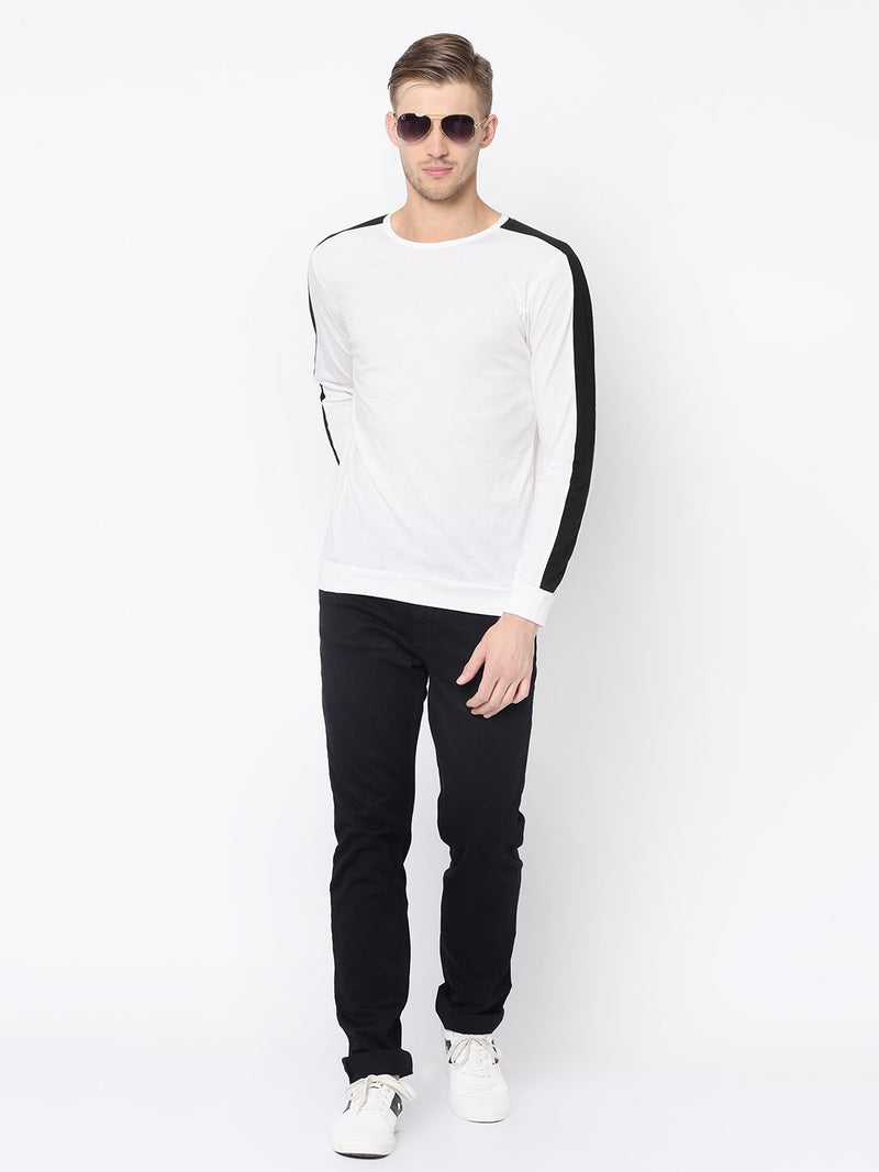 Rigo White Cut & Sew Raglan Sleeve T Shirt For Men