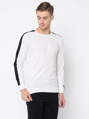 Rigo White Printed Raglan  Sleeve Tshirt For Men