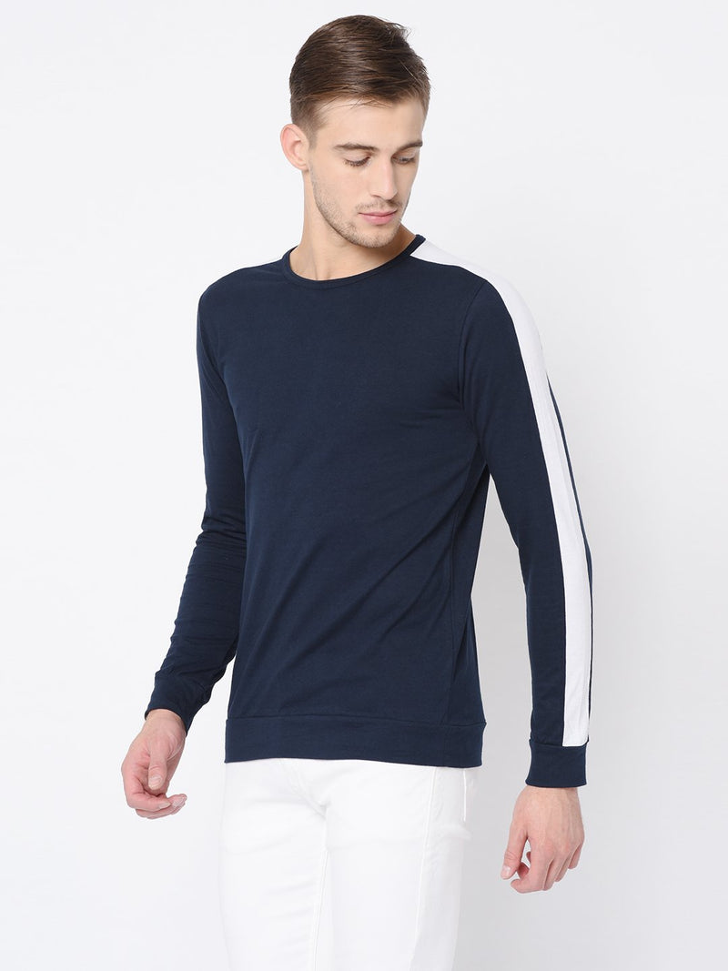 Rigo Navy Cut & Sew Full Sleeve T Shirt For Men