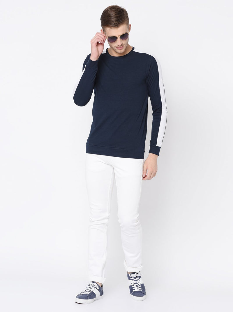 Rigo Navy Printed Raglan  Sleeve Tshirt For Men