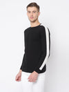 Rigo Black Cut & Sew Full Sleeve T Shirt For Men