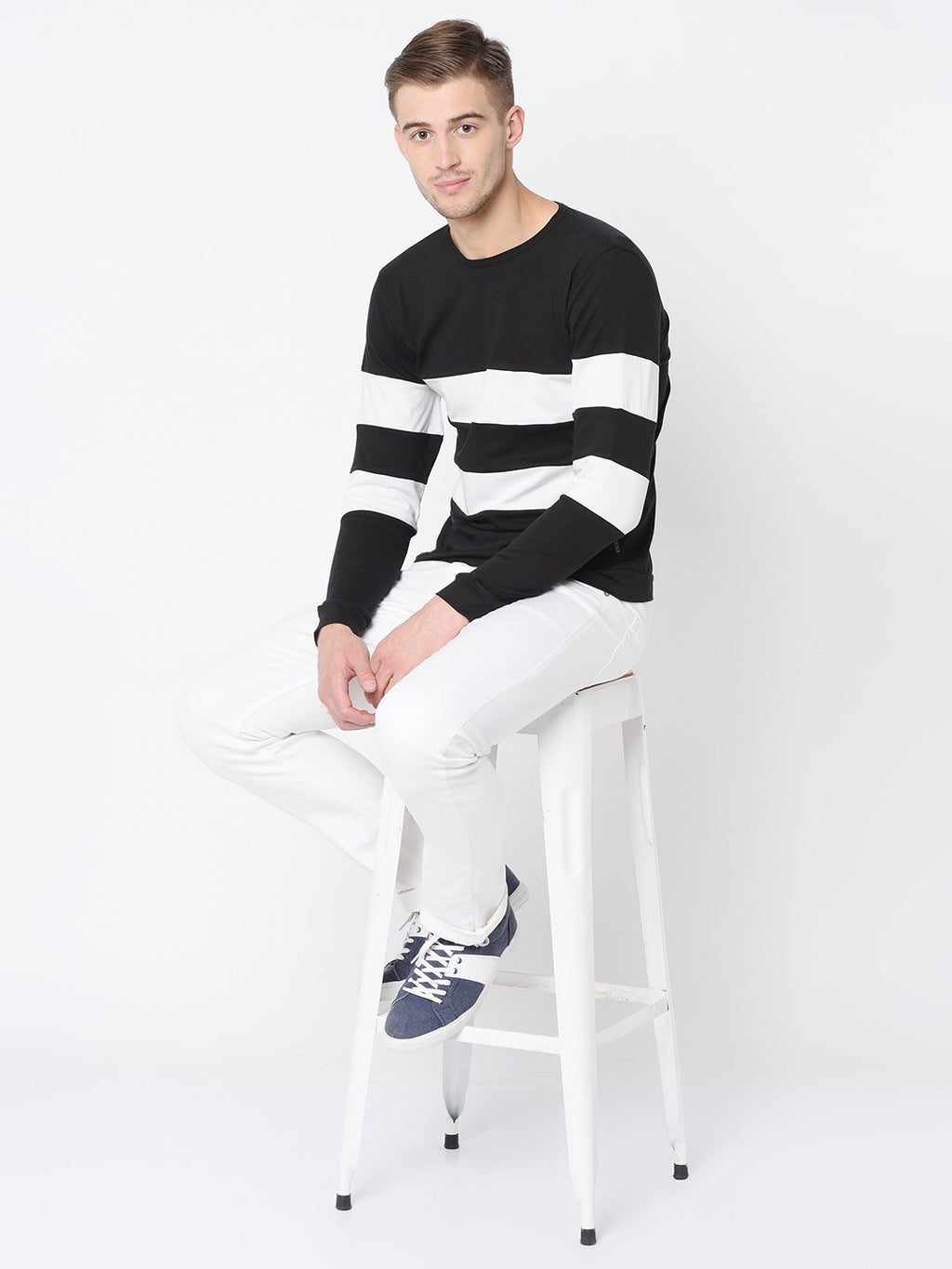 Rigo Black White Cut & Sew Full Sleeve T Shirt For Men