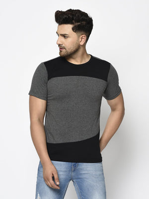 Rigo Men Charcoal Black Color Block Round Neck Cotton Half Sleeve T-shirt