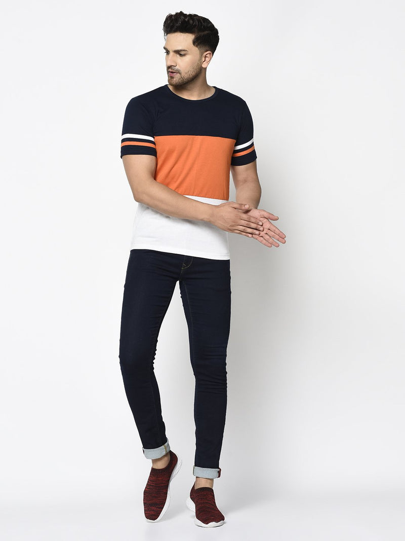 Rigo Men Navy Orange White Color Block With Contrast Detailing Round Neck Cotton Half Sleeve T-Shirt