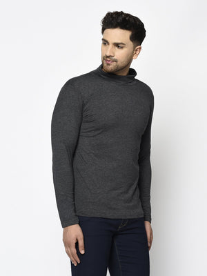 Rigo Men Charcoal Turtle Neck Cotton Full Sleeve T-Shirt