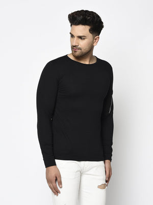 Rigo Men Black Zip Patch Pocket On Sleeve Round Neck T-Shirt