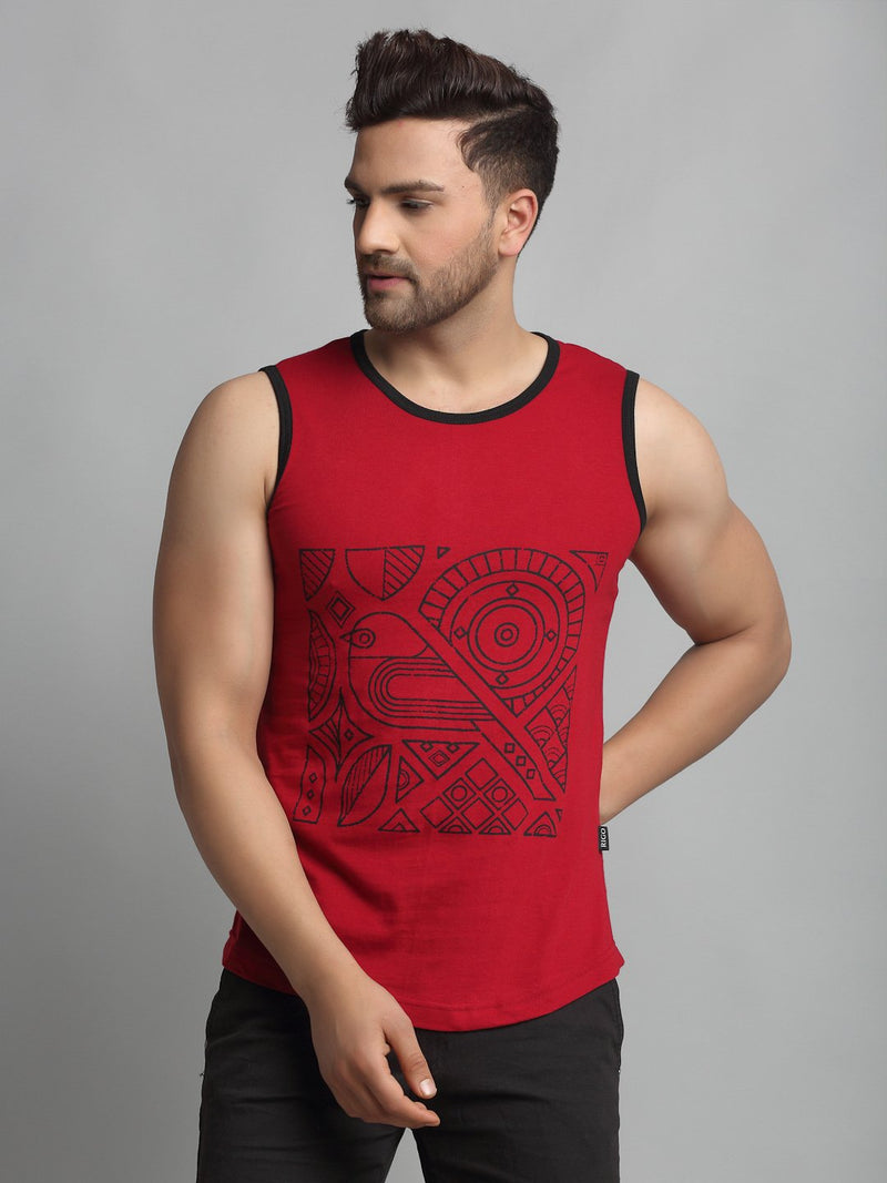Rigo Men Maroon Placement Print Cotton Sleeveless Vest T-Shirt