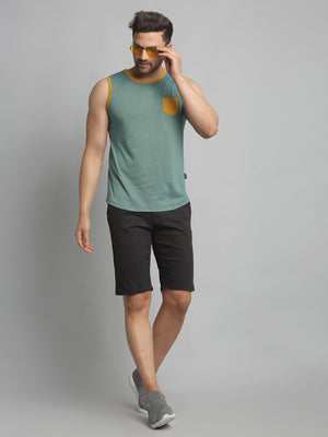 Rigo Men Green Self Texture Stripe Cotton Sleeveless Vest T-Shirt