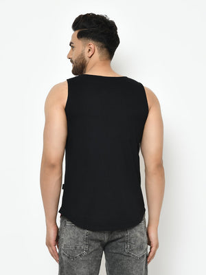 Rigo Men Maroon Black Placement Print With Curved Bottom Cotton Sleeveless T-Shirt Vest