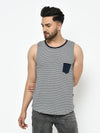 Rigo Men Grey Navy Stripe With Contrast Patch Pocket Curved Bottom Cotton Sleeveless T-Shirt Vest