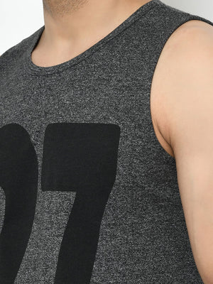 Rigo Men Charcoal Numerical Print Curved Bottom Cotton Sleeveless T-Shirt Vest