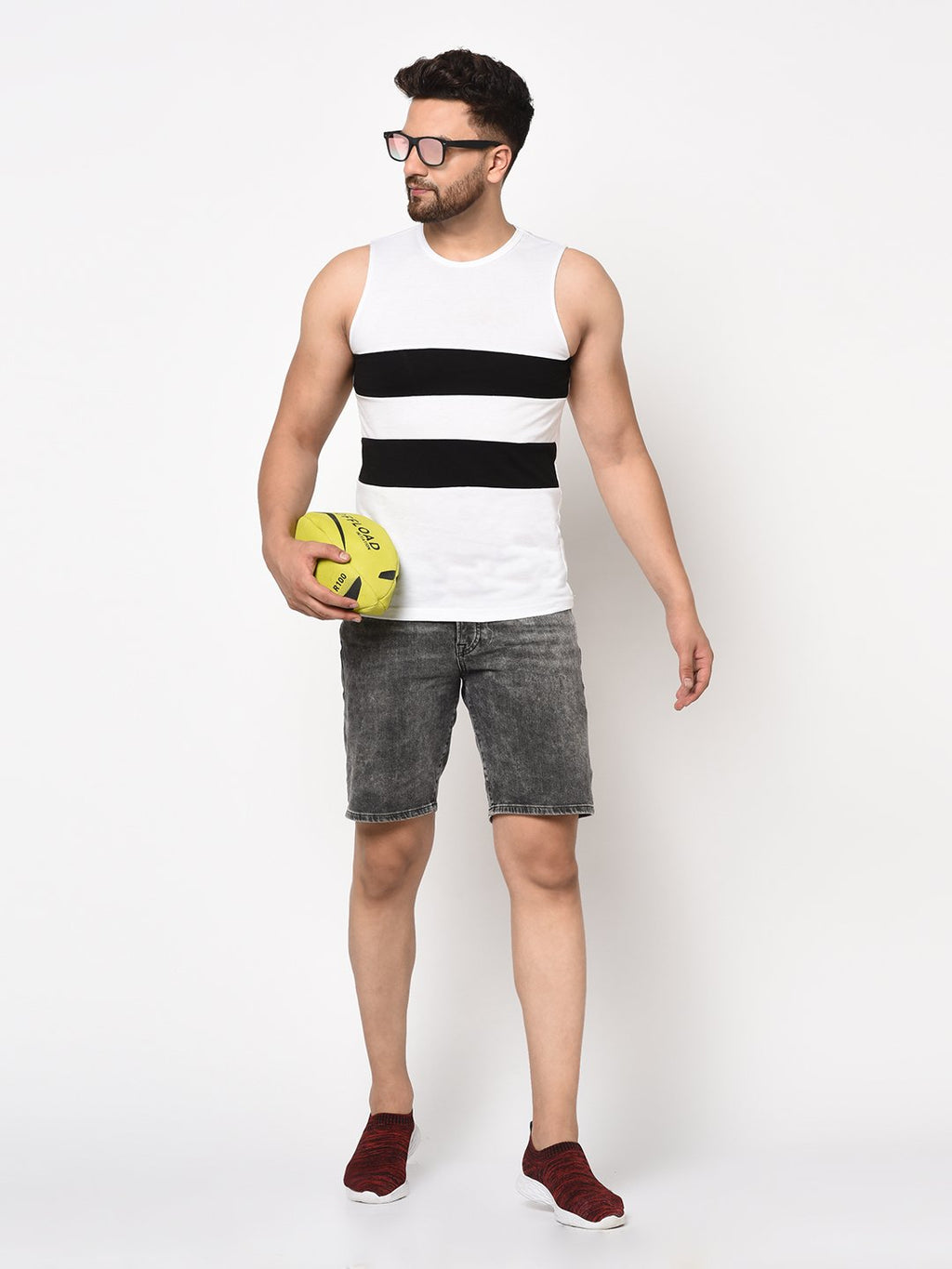 Rigo Men Black White Color Block Sleeveless Cotton Vest T-shirt