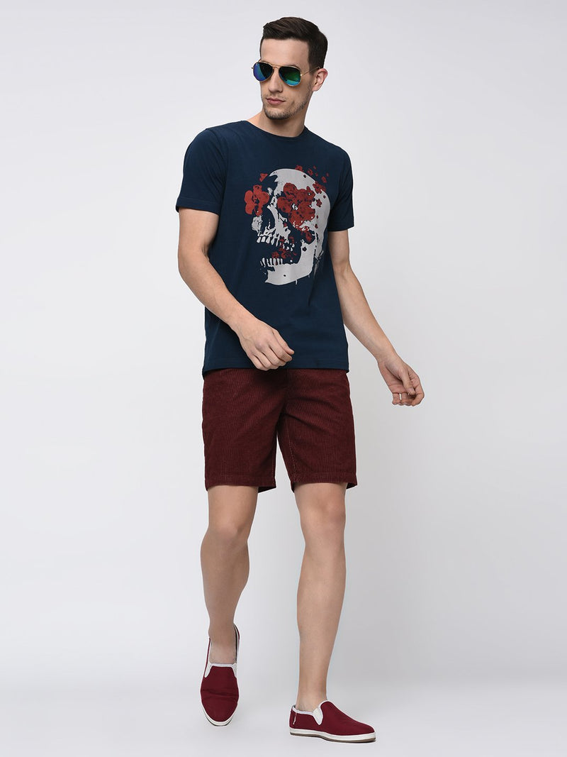 Rigo Maroon Corduroy Shorts for Men