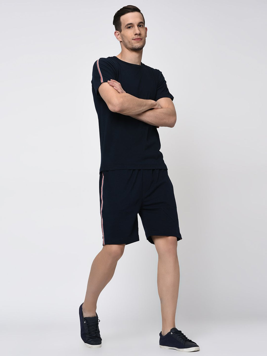 Rigo Navy Tape Detailing Knitted Shorts for Men