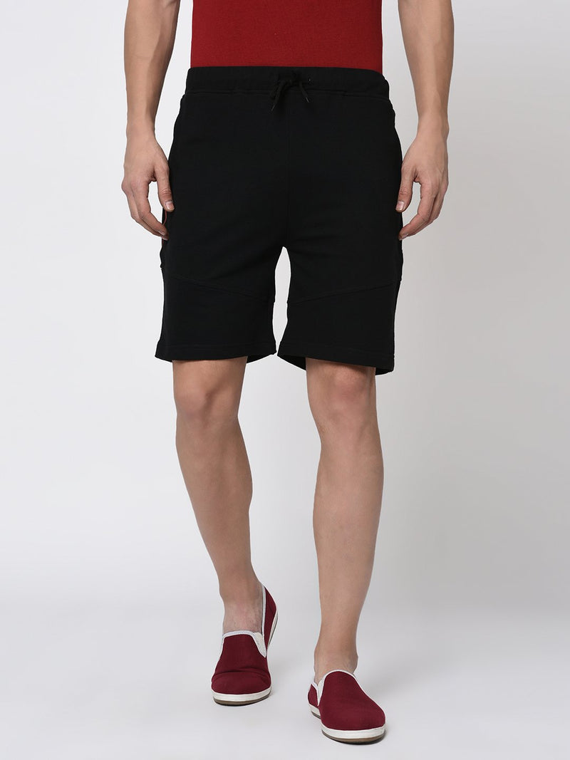 Rigo Black Cut & Sew With Tape Detailing Knitted Shorts for Men