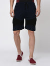 Rigo Navy Black Pintuck Detailing Knitted Shorts for Men