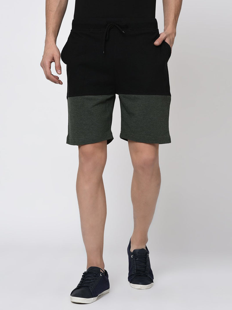 Rigo Black Green Melange Half & Half Knitted Shorts for Men