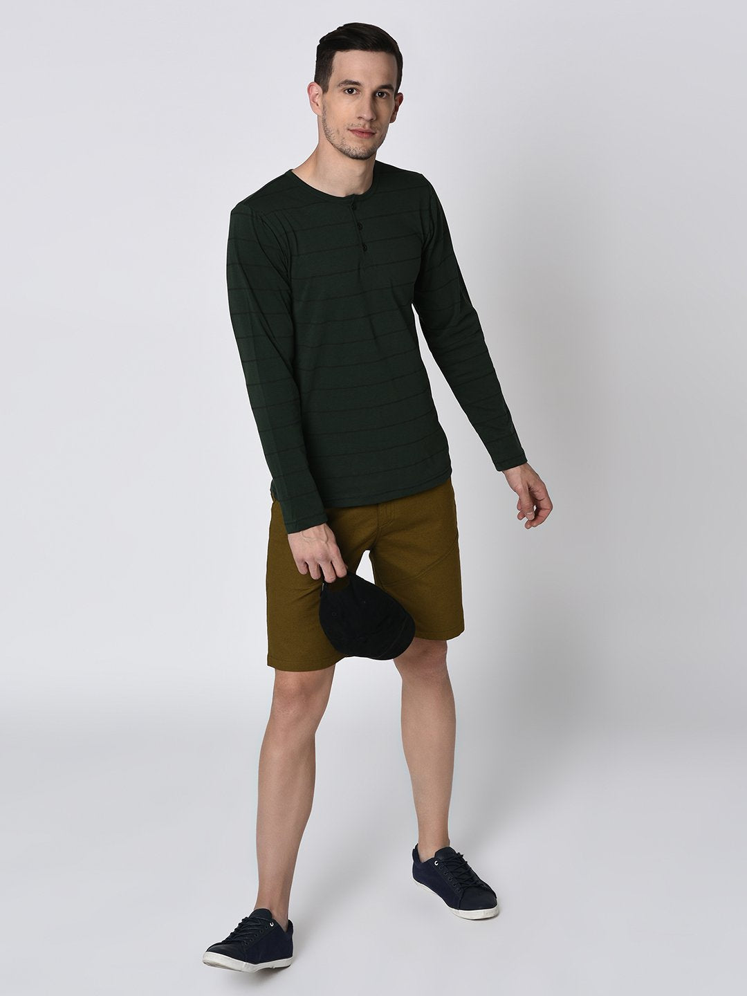 0b5ea0d2d0784 Rigo Olive Green Cut   Sew Detailing Woven Shorts for Men – rigoindia
