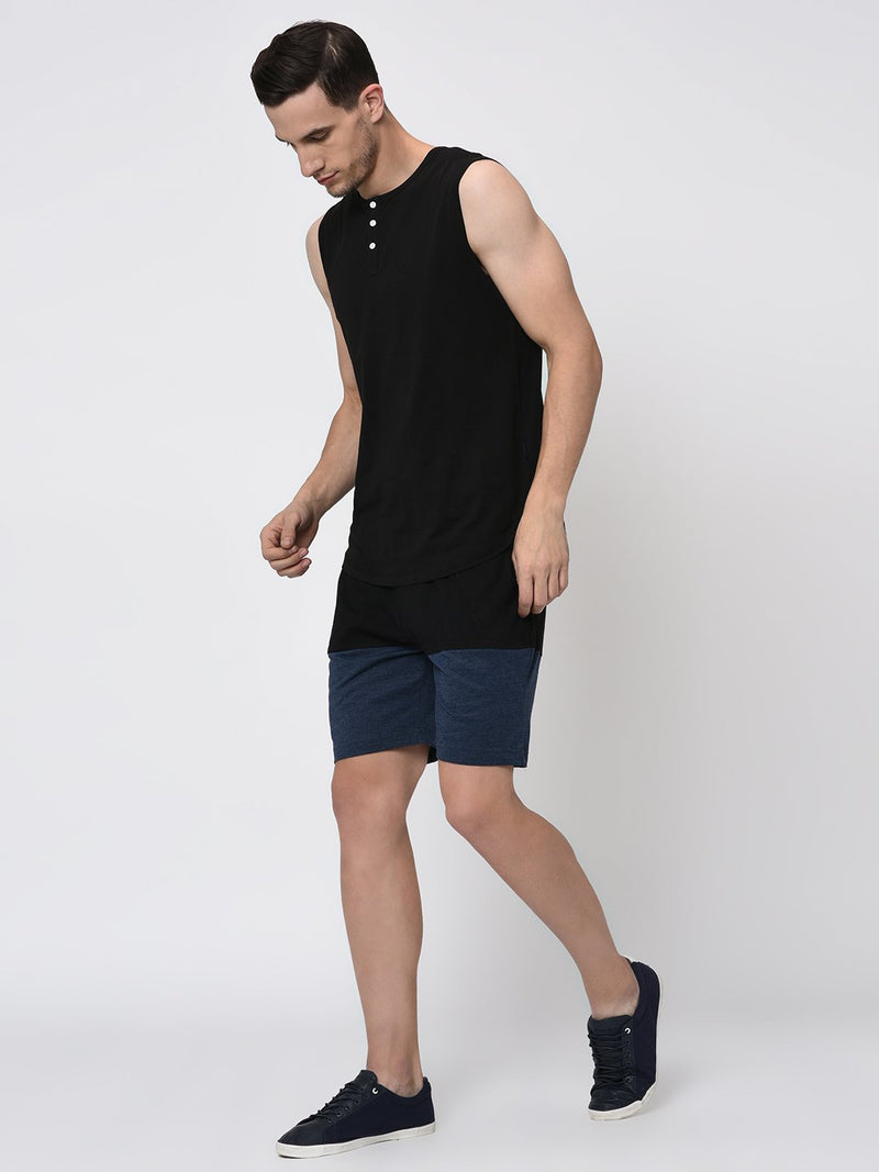 Rigo Black Blue Melange Half & Half Knitted Shorts for Men