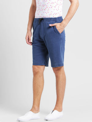 Rigo  Blue Knitted Denim  Short-Half