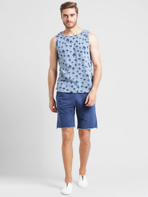 Rigo Blue Knitted Denim With Raw Edge Bottom Short-Half