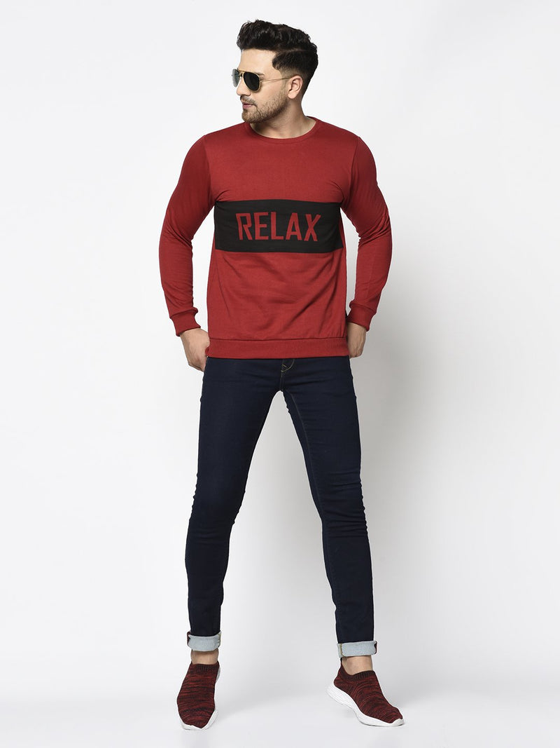 Rigo Men Maroon RELAX Printed Round Neck Fleece Full Sleeve Sweatshirt