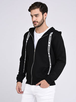 Rigo Black Fleece Hooded With Front Zip Open Sweatshirt-Full