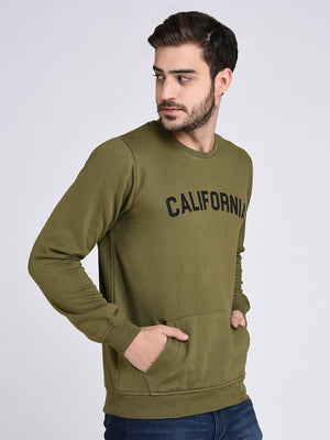Rigo Olive Green Fleece CALIFORNIA Printed Sweatshirt-Full