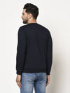 Rigo Men Navy Round Neck Fleece Sweatshirt